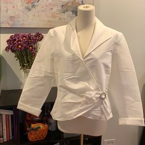 Stretchy White blouse with jeweled bow